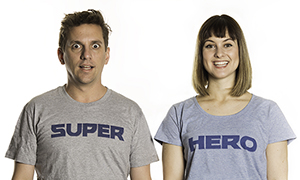 Ben Russell and Cassie Daly in Improvilicious: The Improvised Guide To Superheroes!